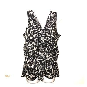 Cheetah print zippered vest or blouse by Milano M